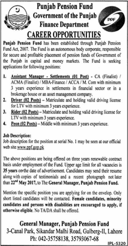New Jobs In Punjab Pension Fund  May   Jobs In Pakistan