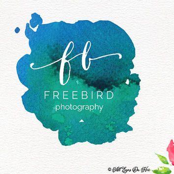 Free Bird Logo, Boho Logo, Water Color Logo, Premade Logo, Graphic ...