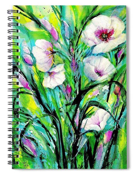 White Poppy Flowers Spiral Notebook For Sale By Sabina Von Arx