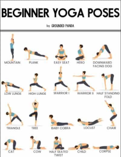 20 Yoga Poses For Complete Beginners Free Printable Yoga Workout Routine Basic Yoga Poses Easy Yoga Workouts