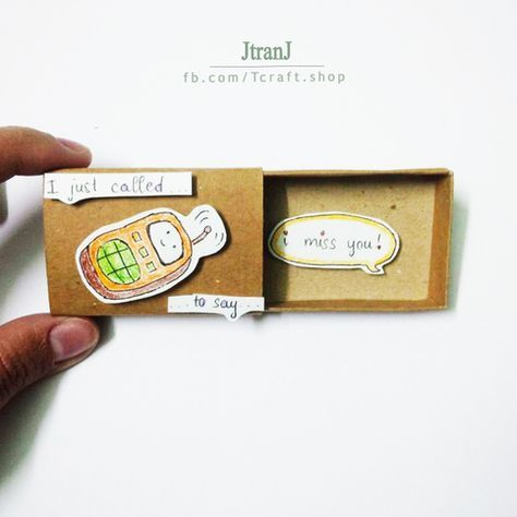 Love card - matchbox card, greeting card sold by JtranJ Buy 5 matchboxes, get 1 free We ship worldwide from Vietnam This listing is for one matchbox. This is a great alternative to a traditional greeting card. Surprise your loved ones with a cute private message hidden in these beautifully decorated matchboxes! Dimensions: 2.17inches (length) x 1.18 inches (width) x 0.39inches (height) Cute messages and illustrations, ideal for many occasions. This can also be used as gift box for small jewe