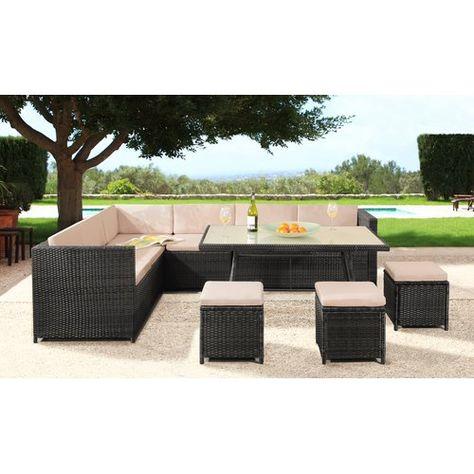 9 Sitzer Lounge Set Lizette Aus Rattan Garten Living Farbe Farbe