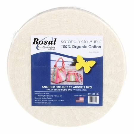 Bosal Katahdin On-A-Roll Organic Cotton Batting 2-1//4 inches by 50 Yards