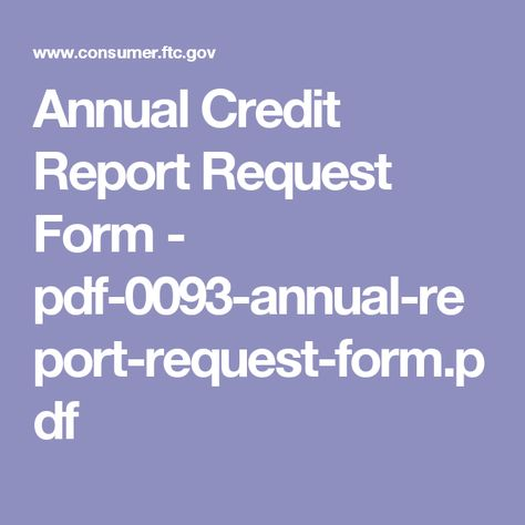 Annual Credit Report Request Form  PdfAnnualReportRequest