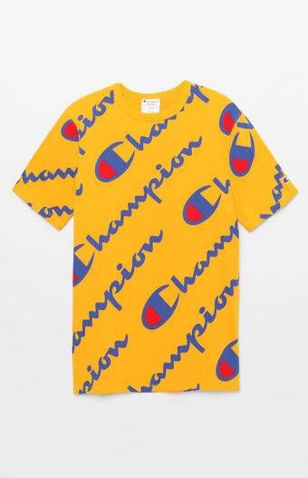 58a126bea028 Champion All Over Script T-Shirt in 2019 | Tees | Champion clothing ...