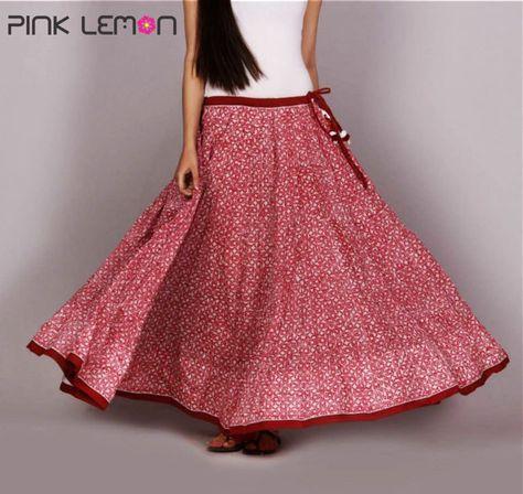 70655f8eb1c24b Indian hand Block printed Long Crinkled Cotton gathered 50 Kali/Paneled  Skirt Women's Ethnic Summer