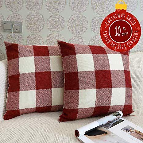 Buffalo Check Plaid Throw Pillow Case Cotton Linen Cushion Cover Sofa Home Decor