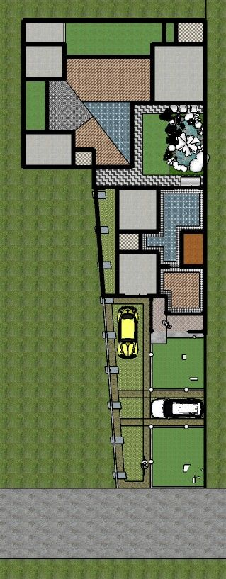 Home Plan 7x40 By S3 Studio