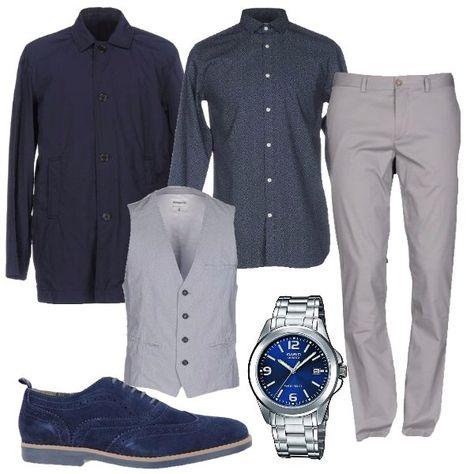 Uomo in grigio e blu: outfit uomo BusinessElegante per