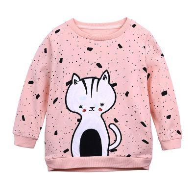 Baby Girls Long Sleeve T-shirt Children Cartoon Cat Print Clothing Blouse Tops