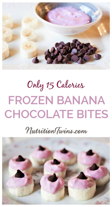 Easy Frozen Banana Chocolate Bites. This low calorie dessert recipe also makes a healthy snack or a healthy dessert. It's perfect for a flat belly workout diet plan since it's only 15 calories a serving. Easy meal prep! #healthy #recipes #snacks #desserts For MORE RECIPES, fitness  nutrition tips please SIGN UP for our FREE NEWSLETTER www.NutritionTwins.com