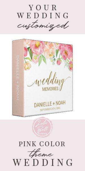 Peach and Pink Peony Flowers Wedding Photo Album 3 Ring Binder #peony #watercolor #blush #blushand #peachandpink #3RingBinder