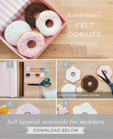 DIY Play Food for Kids: How to Make Felt Donuts - Lia GriffithYou can find Play food and more on our website.DIY Play Food for Kids: How to Make Felt Donuts - Lia Griffith Felt Diy, Felt Crafts, Diy For Kids, Crafts For Kids, Comida Diy, Felt Food Patterns, Felt Cupcakes, Donut Decorations, Felt Play Food