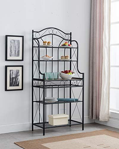 Kings Brand Furniture Black Metal Faux Stone 5 Tier Kitchen
