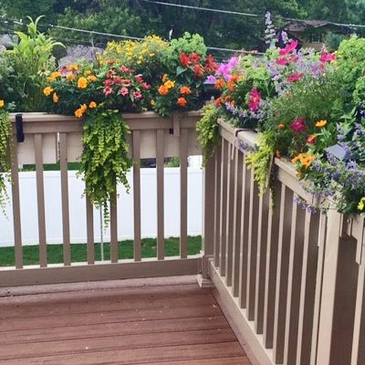 24 New Age Modern Self Watering Deck Railing Planter Over The Rail In 2020 Deck Planters Deck Railing Planters Railing Planters