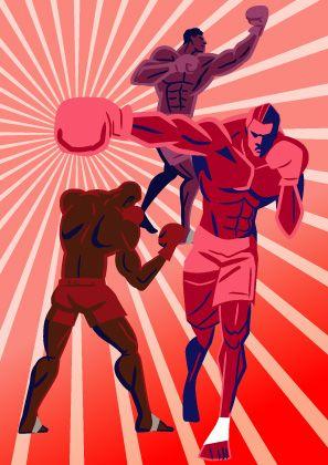 トレーニング中のボクサー達 パンチするボクシング選手のイラスト