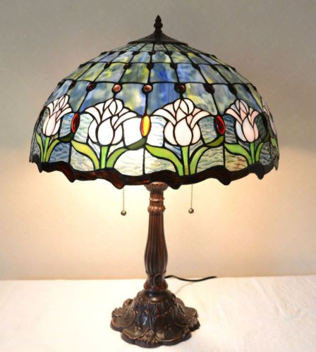 "20""w Zinc Base Tulip Flowers Stained Glass Tiffany Style Jeweled Table Lamp 