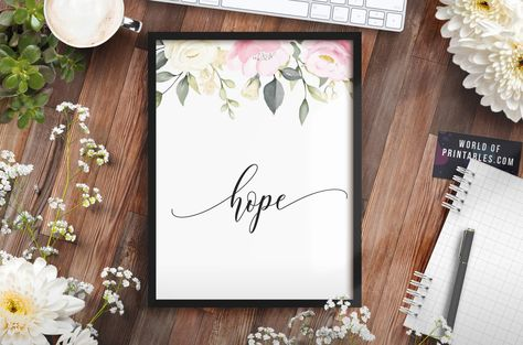 This wonderful free Hope print features soft watercolor floral elements with the word 'hope' in a beautiful script font.  This beautiful and humble Hope print would be a lovely addition to any home and would look incredible in your favorite frame.  Use this as a stand-alone print or combine with any of the other stunning free printables you find on our site. There are so many options to mix and match from.  #homedecorideas #walldecor #wallart #diyhomedecor #hopequotes #freeprintable