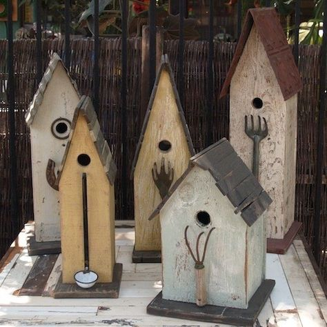 Rustic Prim Birdhouses...with old tools as perches. For anyone that reads this, the tools are cute but you don't need them and the birds don't need them.