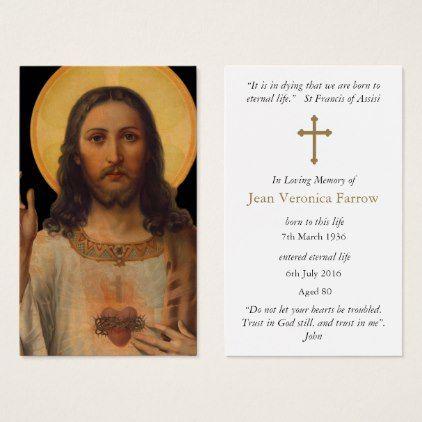 Prayer Cards Antique Sacred Heart Jesus Zazzle Com With