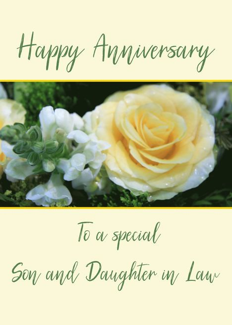 Son And Daughter In Law Wedding Anniversary Yellow Rose Card Ad Ad Law Wedding 4th Wedding Anniversary 8th Wedding Anniversary 2nd Wedding Anniversary
