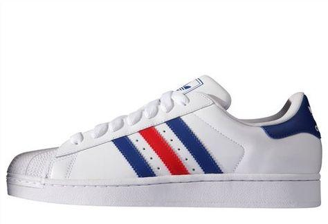 »Superstar II« Adidas Sneaker - weiss, rot, blau