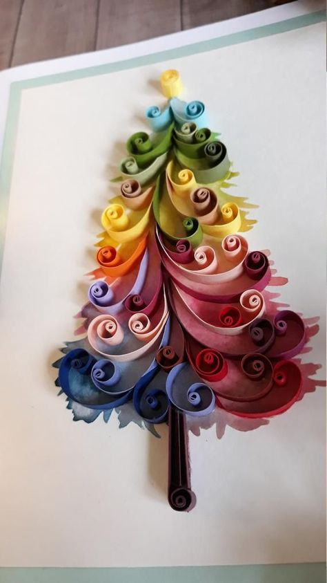 New Trend in 2018? Learn more about the Rainbow Christmas Tree Watercolor Christmas Tree Greeting Card Quilling Greeting | Etsy