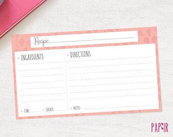 Retro Blank Recipe Card Digital Template 5x7 Inches Cards Print