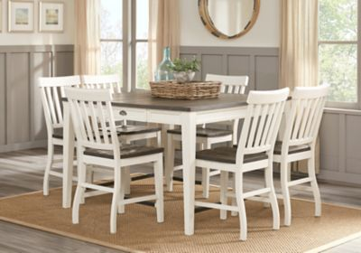 Outstanding Keston White 7 Pc Square Counter Height Dining Room Treats Interior Design Ideas Philsoteloinfo