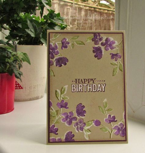 Stampin' Up UK Demonstrator Sarah-Jane Rae Cards and a Cuppa blog, Painted Petals, White on Crumb, white Craft ink, Spring/Summer 2015 catalogue,