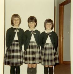 photographs of school girls 1950s , from right to left, Molly, Lynne and  Kathy when they were in elementary school at St. Anne\u0027s Parochial School