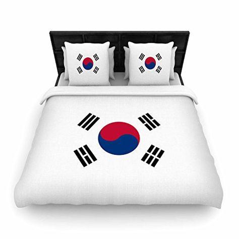 Kess InHouse Bruce Stanfield Flag of Korea White Digital Featherweight Queen Duvet Cover 88 x 88,