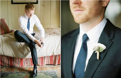 The groom wears a simple white boutonniere. Emily Scannell Photography.