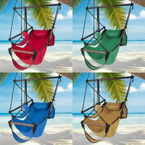 Details About Deluxe Hammock Hanging Rope Patio Tree Sky Swing Chair Seat Outdoor Porch Lounge Outdoor Hanging Seat Swinging Chair Outdoor Chairs