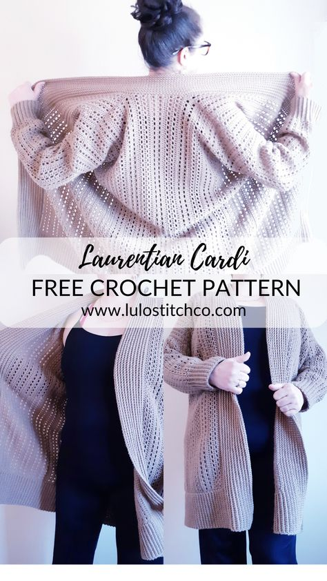 The Laurentian Cardi is a great oversized cardi addition to your spring and summer wardrobe. Pull Crochet, Crochet Coat, Crochet Cardigan Pattern, Crochet Jacket, Crochet Shawl, Crochet Clothes, Crochet Sweaters, Knitting Patterns, Crochet Patterns