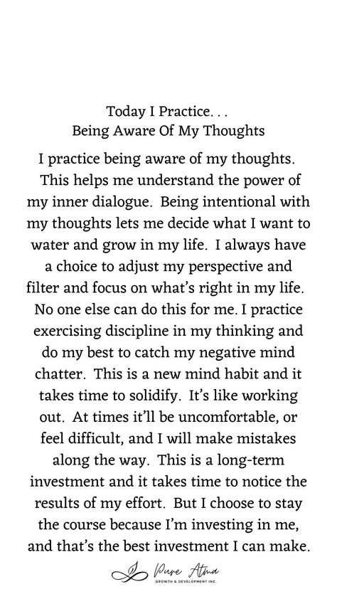 """Have you found that #affirmations don't really work for you? I had the same challenge. Try this #lifestrategy instead; it's called """"I Practice"""". Practicing something helps you build #strength and #resilience and long-lasting #mindhabits. This week's life strategy is """"Being Aware Of My Thoughts"""". Practice this for a week and let me know how it goes for you. #createjoy #gratitude #aligned #sundayspirituality #sundayservice #seva #family #momlife #parentingtips #fulfilment #fullfilment #action #un"""