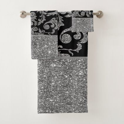 Elegant Stylish Shiny Silver Black Gold Swirls Bath Towel Set Zazzle Com In 2020 Bath Towel Sets Towel Set Girls Shower Curtain