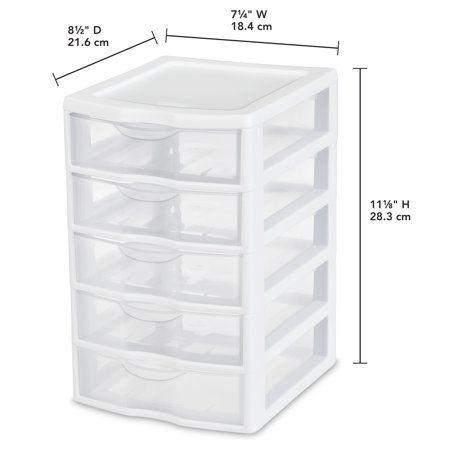 Sterilite Small 5 Drawer Unit White Walmart Com Kitchen Drawer Units Drawer Unit Kitchen Drawers