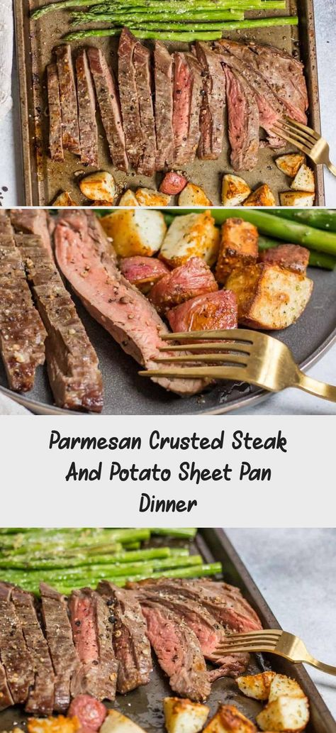 Dinner on one pan with this Parmesan Crusted Steak and Potato Sheet Pan Dinner means simple and delicious dinner without the extra dishes! Juicy flank steak and crispy potatoes served with asparagus. A full meal on one pan! #dinner #sheetpandinner #dinnerrecipe #easyrecipe #dinnertime #steak #steakandpotatoes #CakeRecipes #SnackRecipes #MexicanRecipes #DinnerRecipes #PorkChopRecipes