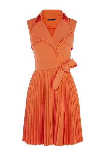 Karen Millen, PLEATED TRENCH DRESS Orange