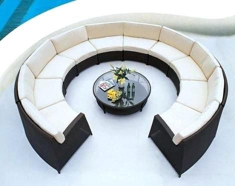 Round Outdoor Sectional Sofa Rattan Outdoor Furniture Outdoor
