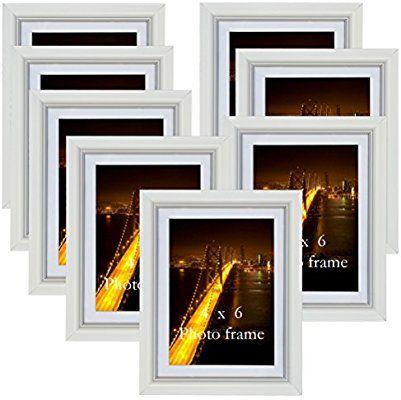 Petaflop 6x4 White Photo Frames 8pcs Multi Wall Picture Frame Set Amazon Co Uk Kitchen Home Picture Frame Sets Picture Frame Wall White Photo Frames