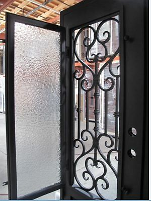 Wrought Iron Door Doors W Iron Works Oper Able Glass Panel Fl Iron7101s Iw01 Wrought Iron Doors Wrought Iron Doors Front Entrances Wrought Iron Front Door