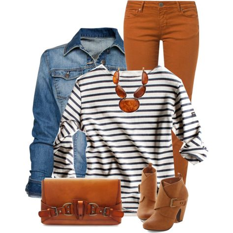 A fashion look from January 2015 featuring white long sleeve shirt, blue jackets and cimarron jeans. Browse and shop related looks. Orange Pants Outfit, Colored Pants Outfits, Colored Jeans, Camel Pants Outfit, Look Fashion, Autumn Fashion, Fashion Outfits, Petite Fashion, Curvy Fashion