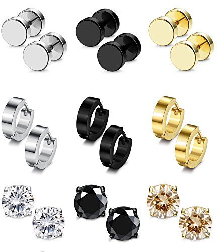 573d5781cd86c Besteel 6-12 Pairs Stainless Steel CZ Stud Earrings Hoop Earrings ...