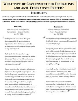 Federalists And Anti Federalists Debate The New Constitution Students Primary Source Documen Teaching Us History Social Studies Middle School Teaching History