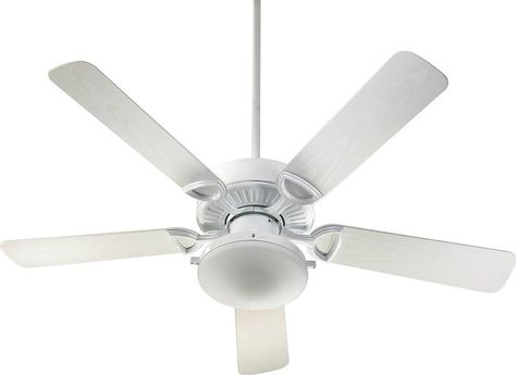 This Estate Patio Ceiling Fan By Quorum With A White Finish Is