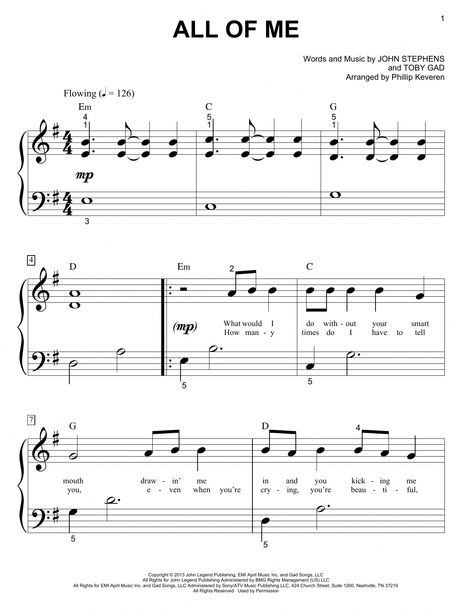 John Legend All Of Me Sheet Music Notes And Chords For Piano