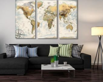 9 best world maps images on pinterest map frame bulletin boards 3 panel world map canvas elegant world map created by a professional cartographer perfect gumiabroncs Gallery