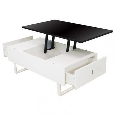 Table Basse Relevable Multifonction Laque Noir Et Blanc Table Basse Relevable Table Basse Table Basse Tiroir